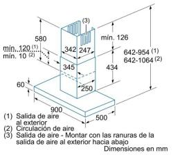 CHIMENEA DE PARED BALAY MODELO 3BC894P CROQUIS